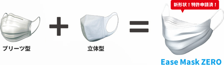 Pleated type + solid type = Ease Mask ZERO